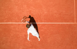 Top view of male tennis player. In action Stock Image