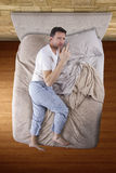 Top View of Man On Bed Royalty Free Stock Photos