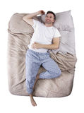 Top View of Man On Bed Stock Images