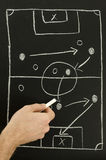 Top view of a man drawing a football game strategy. With white chalk on a blackboard royalty free stock images
