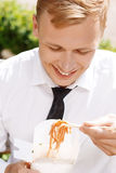 Top view of man eating Chinese noodles Royalty Free Stock Photography