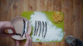The process of cooking a small fish, preparing for frying in oil in a frying pan. Top view of a man`s hands covering a capelin with flour on a wooden table, the stock footage