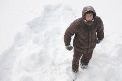 Top view of a man standing in a snowy field Royalty Free Stock Photos