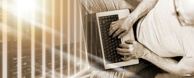 Top view of man working on his laptop; multiple exposure royalty free stock photos