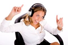 Top view of manager enjoying music Royalty Free Stock Photography
