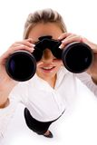Top view of manager looking through binocular stock photo