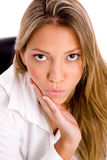 Top view of manager making face Royalty Free Stock Photography