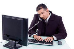 Top view of manager talking on phone Stock Images