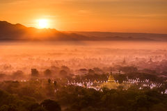 Top view from Mandalay Hills in the morning. Royalty Free Stock Photo