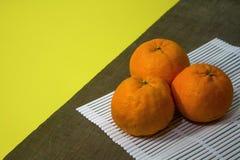 Top view of Mandarin oranges Stock Image