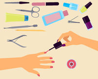 Top view manicurist Royalty Free Stock Images