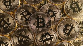 TOP VIEW: Many bitcoin coins Royalty Free Stock Image