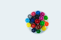 Top view of many different colored pens Stock Photography