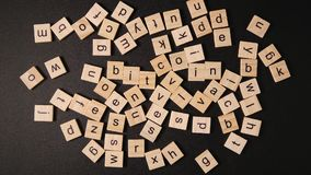 TOP VIEW: Many letters on a black table Royalty Free Stock Photography