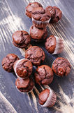 Top view of many mini chocolate muffins Stock Photo
