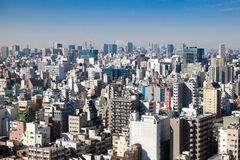 Top view of many residential buildings with faraway Mt. Fuji Royalty Free Stock Photography
