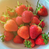 Top view of many strawberry in a white bowl,selective focus,filtered image,light effect added. Top view of many strawberry in a white bowl,selective focus stock photo