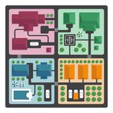 Top view map of the city with streets and houses. View from abov Royalty Free Stock Images