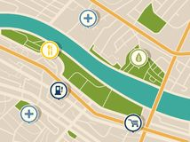 Map with gps pointers for park and shop, hospital Royalty Free Stock Photography