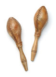 Top view of maracas made of leather and wood Stock Images