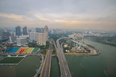 Top view of Marina Bay Sand sky park. In singaporn royalty free stock image