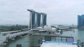 Top view of Marina Bay Sands hotel. Shot. View from the roof top pool at new Marina Bay Sands hotel in early morning royalty free stock photography