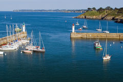 Top view of the marina of La Palais the island of Belle Ile en M Stock Images