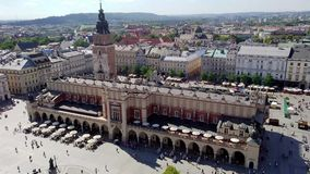 Top view of the Market Square - Krakow - Poland stock video