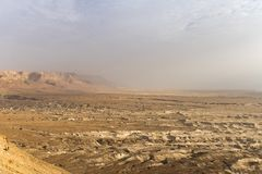 Top view from Masada fortress to the Judaean desert and the Dead Sea. The desert land of Israel. Background of canyon in the. Desert. Desert in which 40 years royalty free stock photography