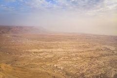 Top view from Masada fortress to the Judaean desert and the Dead Sea. The desert land of Israel. Background of canyon in the. Desert. Desert in which 40 years stock photos