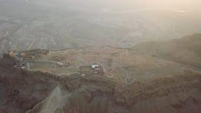 Top view masada shot in the desert stock photography