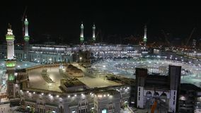 Top view of Masjidil Haram. Mosque with Kaabah partially visible. Masjidil Haram is under extensive renovation to cater for more pilgrims stock footage