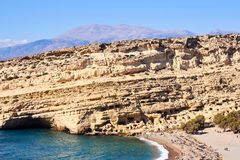Top view of Matala beach, sea, cliff and sky, Crete, Greece stock photos