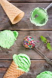 Top view matcha ice cream cone Royalty Free Stock Photography