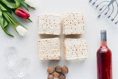 Top view of matza. And menorah on table, jewish Passover holiday concept Royalty Free Stock Photography