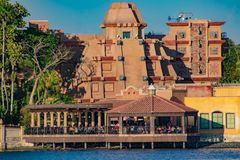 Top view of Maya Pyramid on lightblue cloudy sky background in Mexico Pavilion at Epcot in Walt Disney World  3. Orlando, Florida . March 27, 2019. Top view of royalty free stock photos