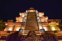 Top view of Maya Pyramid in Mexico Pavilion on night background at Epcot in Walt Disney World . Orlando, Florida . March 27, 2019. Top view of Maya Pyramid in royalty free stock images