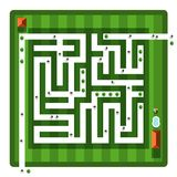 Top View Maze. Vector Aerial View Hedge Labyrinth. With People and Buildings Royalty Free Illustration