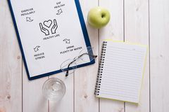 Top View Of A Meal Plan Concept On Wooden Desk.  royalty free stock photos
