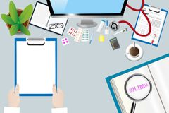 Healing bulimia concept vector. Top view of a medical table with doctor accessories. Doctor is holding blank paper ready for your text. The magnifying glass Stock Photography