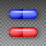 Top view medicaments vector of red and blue oval pill on transparent background.  stock illustration