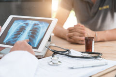 Top view of medicine for physicians to work with. modern laptop royalty free stock image