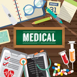 Top View Of Medicine Tablets, Hypodermic Syringe And Diagnosis Paper Medical Concept. Royalty Free Stock Photos