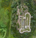 Top view of the medieval castle of Grivas, Lefkada, Greece.  stock images