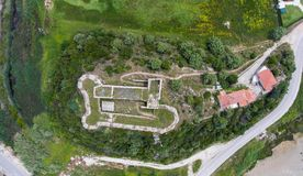 Top view of the medieval castle of Grivas, Lefkada, Greece.  stock photo