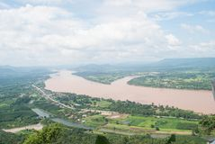 Top view Mekong river with mountain and cloudy sky. Stock Photos