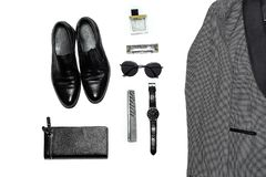 Top view in men`s style, fashion, clothing and style stock photography