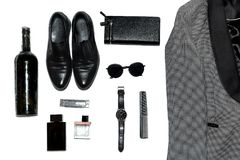 Top view in men`s style, fashion, clothing and style royalty free stock photos