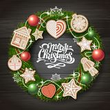 Top view of Merry Christmas concept design. Christmas wreath with cookies on wooden background. Christmas food stock illustration