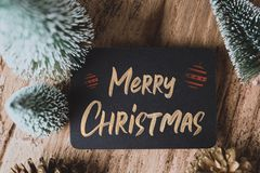 Top view of Merry Christmas and happy new year on blackboard wit stock photos